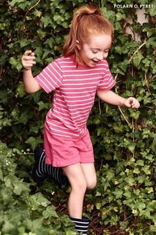 Polarn O. Pyret Pink GOTS Organic Comfy Frilled Sweat Shorts