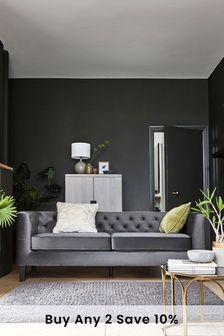 Opulent Velvet Dark Grey Elsie Large Sofa With Black Feet