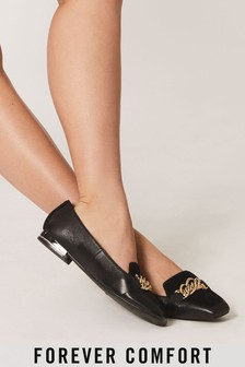 Black Forever Comfort® Leather Hardware Square Toe Loafers