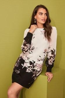 Black/White Border Print Dress