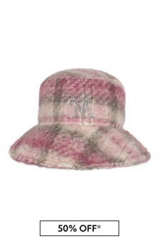 Girls Pink Check Wool Hat