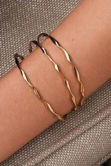 Gold Tone Twisted Cuff Bracelets Three Pack