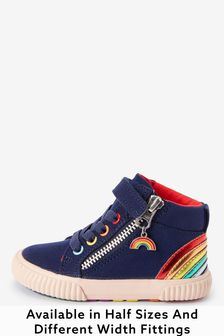 Navy Rainbow Elastic Lace High Top Boots (Younger)