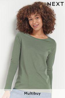 Khaki Green Long Sleeve Top