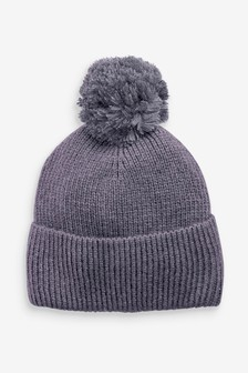 Charcoal Knitted Pom Hat