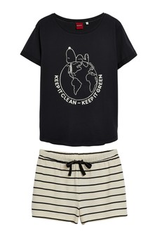 Black Snoopy Organic Cotton Short Pyjamas Set