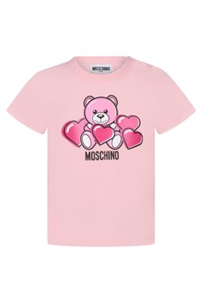 Moschino Kids Baby Girls Pink Cotton T-Shirt