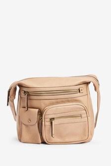 Neutral Large Washed Messenger Bag