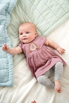 Lilac Rainbow Dress And Leggings Set (0mths-2yrs)