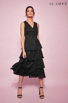 Khost Glamour Black Jacquard Tiered Midi Dress