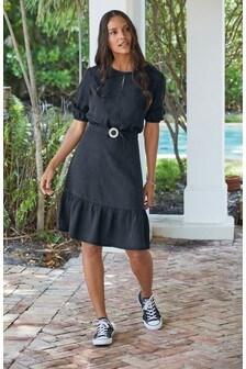 Navy Sparkle Belt TENCEL™ Dress