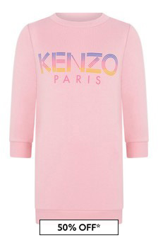 Girls Pink Cotton Logo Sweater Dress