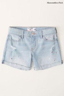 Abercrombie & Fitch Paint Splatter Denim Shorts