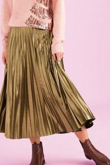 Gold Pleat Midi Skirt