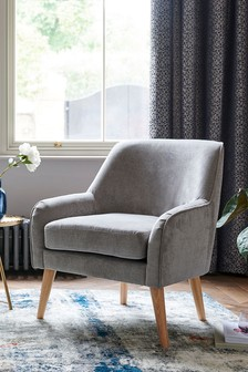 Fine Chenille Mid Grey Ari Accent Chair With Light Legs