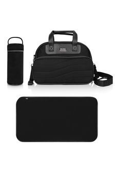 Black Changing Bag With Mat & Bottle Holder