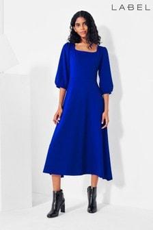 Label Square Neck Jersey Dress