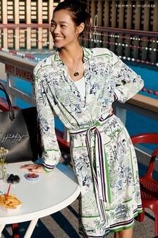 Tommy Hilfiger Green Silk Print Midi Dress