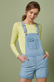 Blue Stripe Dungaree Shorts