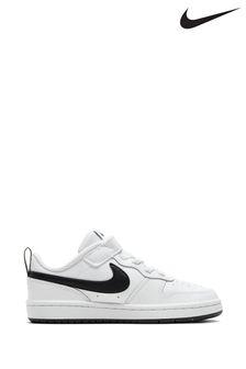 Nike White/Black Court Borough Low Junior Trainers