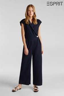 Esprit Blue Short Sleeve Shiny Jumpsuit With Button Detail And V-Neck