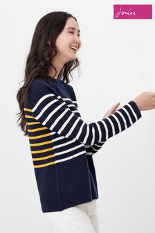 Joules Blue Valencia Knitted Ripple Stitch Jumper