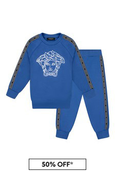 Boys Blue Cotton Logo Tracksuit