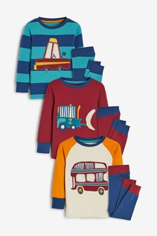 Multi 3 Pack Transport Snuggle Pyjamas (9mths-8yrs)