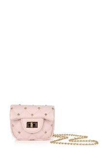 Girls Pink Studded Shoulder Bag