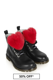 Girls Black Leather Boots With Furry Heart