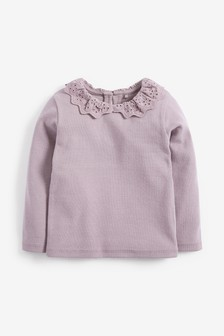 Purple Brushed Broderie Collar Top (3mths-7yrs)