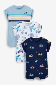 Pastel Transport 3 Pack Rompers (0mths-3yrs)