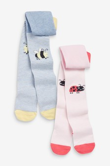 Pink/Blue 2 Pack Ladybird/Bee Tights