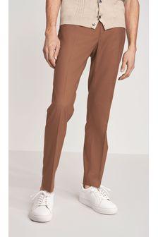 Tan Slim Fit Formal Trousers