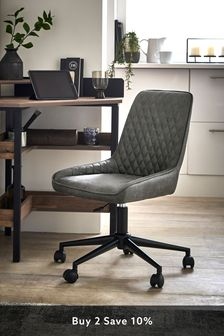 Monza Faux Leather Grey Hamilton Office Chair With Black Base