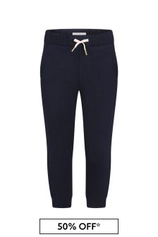 Girls Navy Cotton Joggers