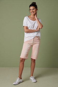 Pink Stripe Knee Shorts