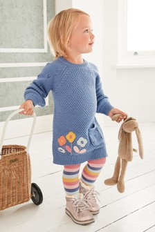 Blue Rainbow Jumper Dress & Tights Set (3mths-7yrs)