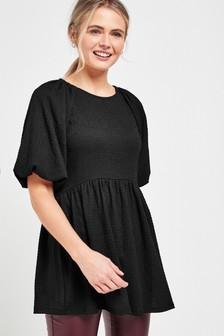 Black Textured Puff Sleeve Tunic