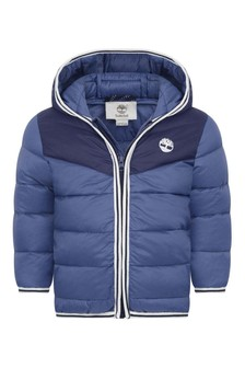 Baby Boys Blue Branded Quilted Jacket