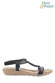 Fleet & Foster Black Tabitha Slip On Sandals