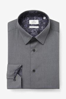 Grey Regular Fit Single Cuff Cotton Tonic Trimmed Shirt