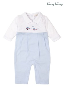 Kissy Kissy Blue Hand Embroidered Aeroplanes Romper