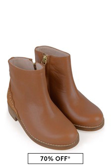 Girls Tan Leather Ankle Boots