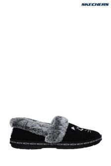 Skechers® Black Too Cozy Meow Pajamas Slippers