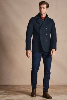 Navy Funnel Neck Peacoat