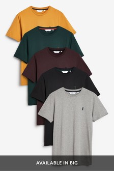Ochre Mix Crew Neck Regular Fit Stag T-Shirts Five Pack