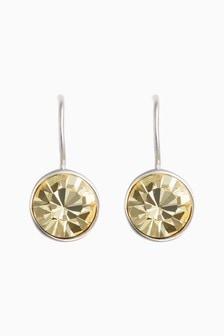 Sterling Silver/Yellow Preciosa Crystal Drop Earrings