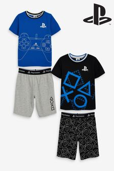 2 Pack Blue Playstation™ Short Pyjamas (3-16yrs)
