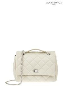 Accessorize Cream Leather Georgia Quilted Cross Body Bag